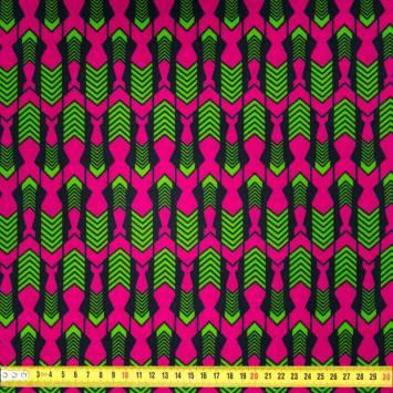 Wax - Tissu africain fuchsia motif flèche verte 406