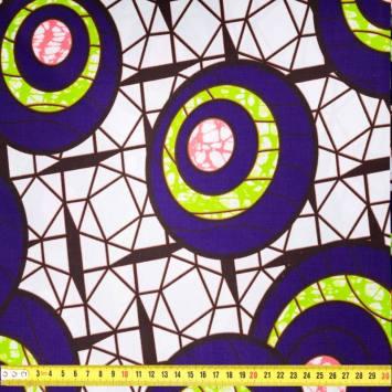 Wax - Tissu africain violet motif rond vert et rose 408