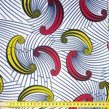 Wax - Tissu africain blanc motif rayure et croissant jaune, rouge 400