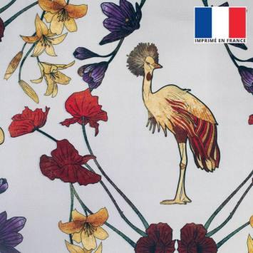coupon - Coupon 30cm - Velours ras grège imprimé grue royale et fleurs ocre, rouges et violettes