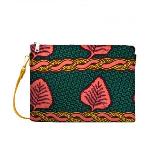 Wax - Tissu africain émeraude motif chaine rose et jaune 416