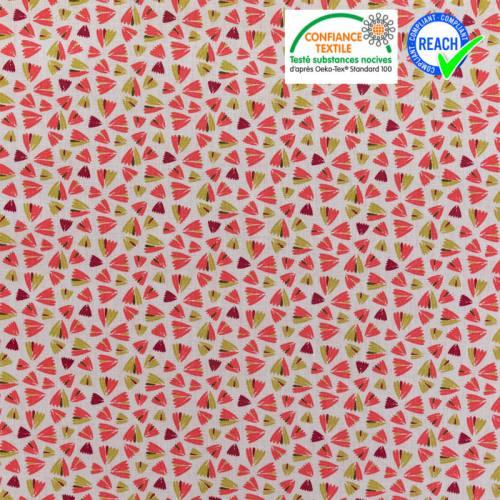 Coton écru imprimé fleur rose et vert tilleul