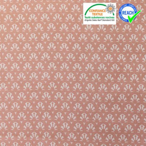 Coton blanc motif mako saumon