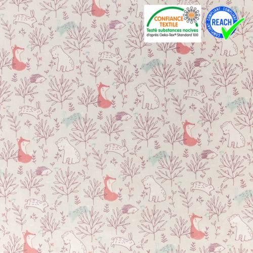 Coton grège motif feuilles et animaux