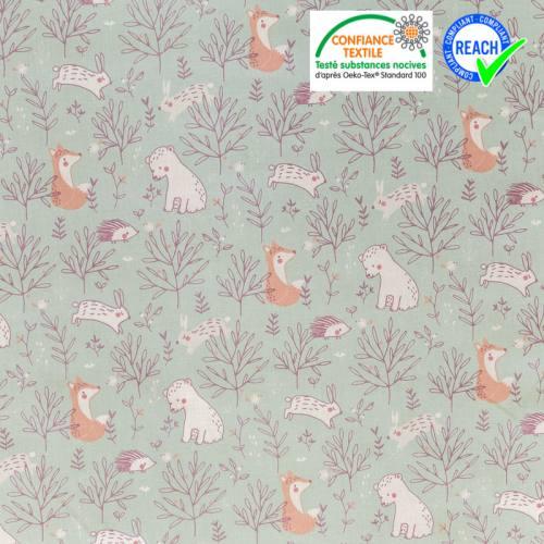 Coton vert sauge motif feuilles et animaux
