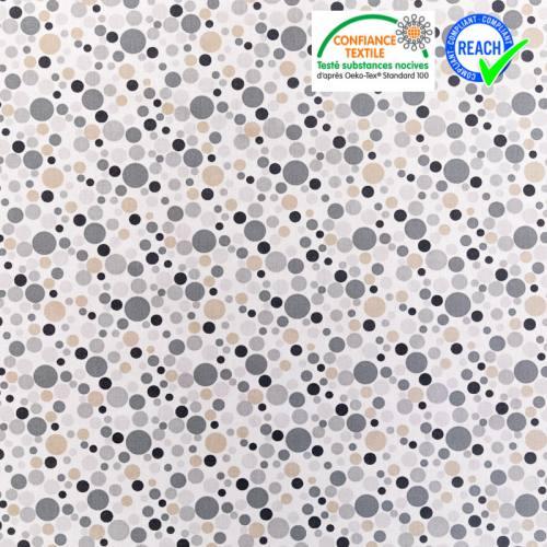 Coton blanc motif rond gris noir et beige
