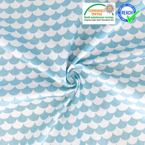 Coton bleu ciel imprimé écaille