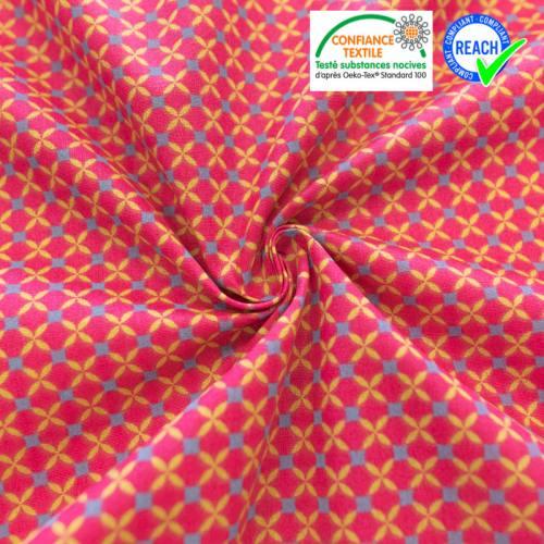 Coton fuchsia motif géométrique chaca
