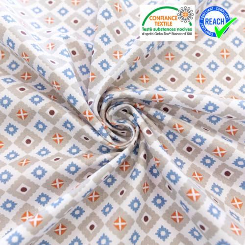 Coton blanc motif pikot lin et bleu