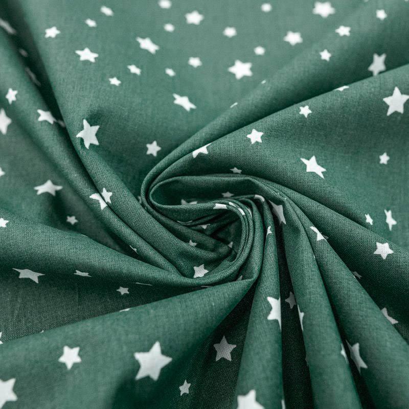 Coton vert pin motif étoiles blanches