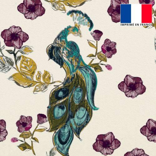 Velours ras écru imprimé fleur et paon