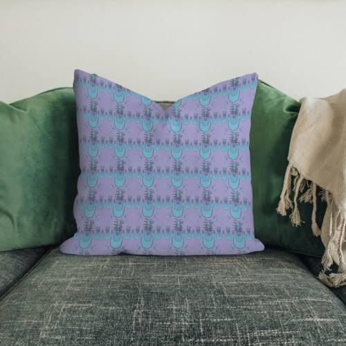 Velours ras lilas imprimé ananas bleu