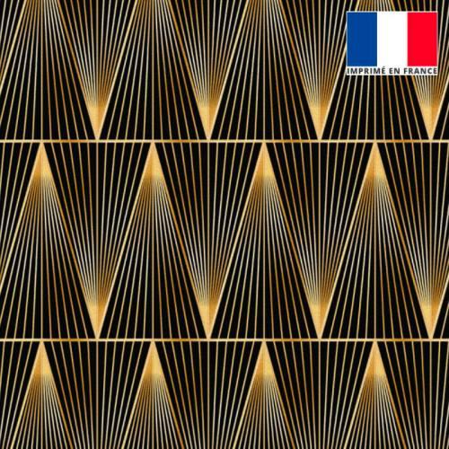Velours noir motif grand triangle ligne doré