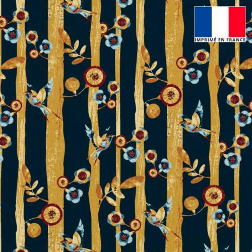 Velours noir motif branche et oiseau