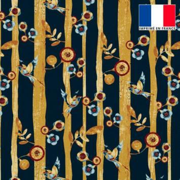 Velours ras noir motif branche et oiseau