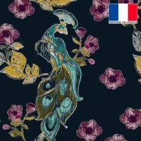 Velours ras bleu marine imprimé paon fleuri