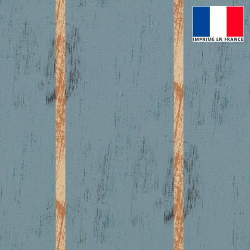 Velours ras gris bleu effet bois