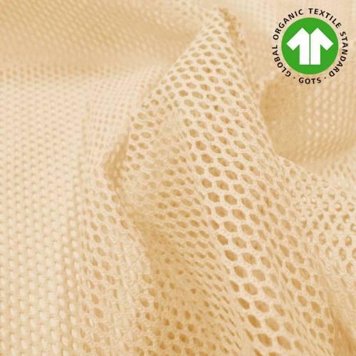 Tissu filet mesh beige en coton bio
