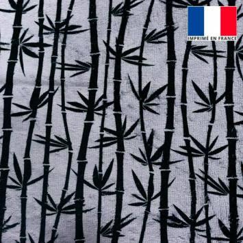 Eponge grise imprimée bambou noir