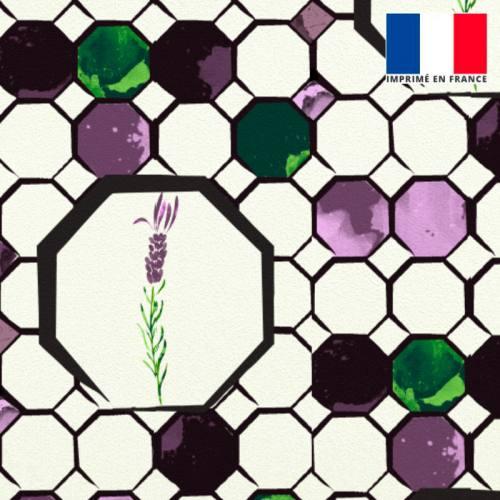 Velours écru imprimé alvéole lavande vert et violet