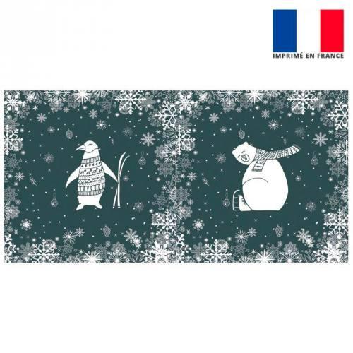 Coupon de velours ras gris foncé motif ours et pingouin 86x44cm