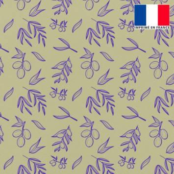 Tissu burlington tilleul imprimé olive bleu