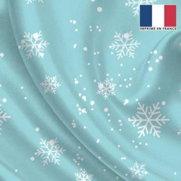 Satin bleu glacier imprimé flocon de neige