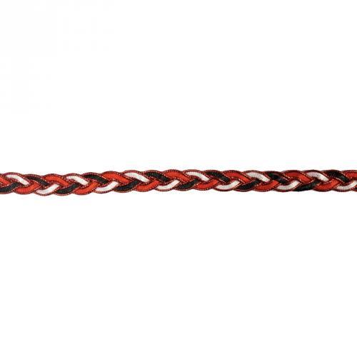Galon fantaisie tressé 10mm noir blanc et rouge métalisé
