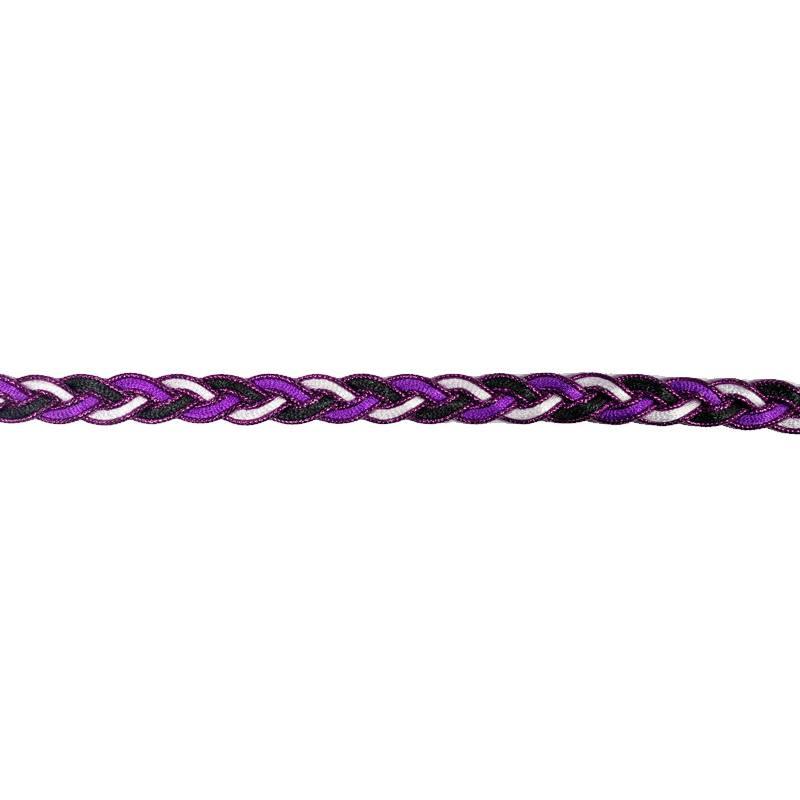 Galon fantaisie tressé 10mm noir blanc et violet métalisé