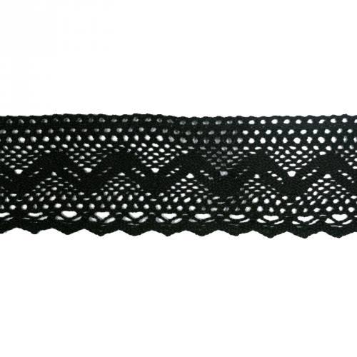 Ruban de dentelle en coton noir 6 cm