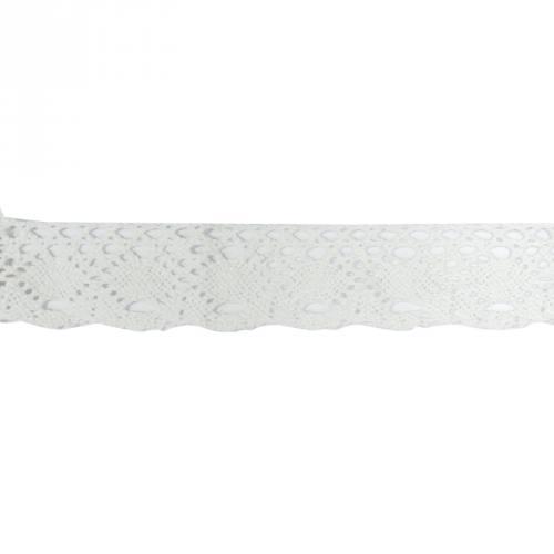 Ruban de dentelle en coton blanc 4 cm
