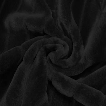 Fausse fourrure noire poils ras et rainures