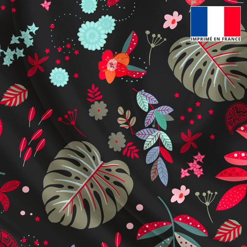 Satin noir motif feuilles rouges et vert-de-gris