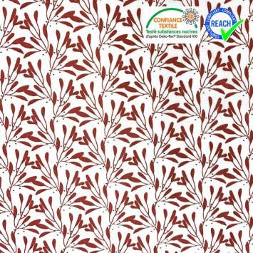 Coton blanc motif branches à feuilles bordeaux