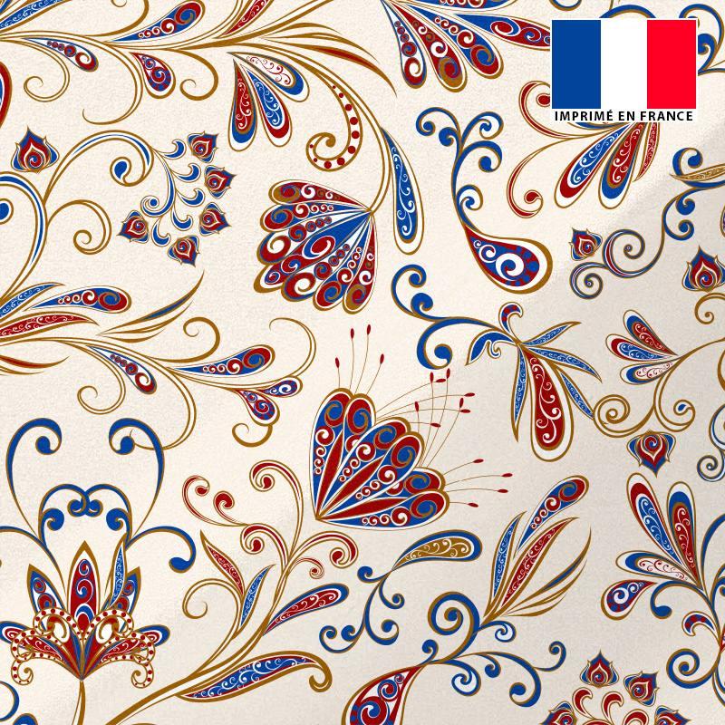 Tissu microfibre sable imprimé floral façon cachemire