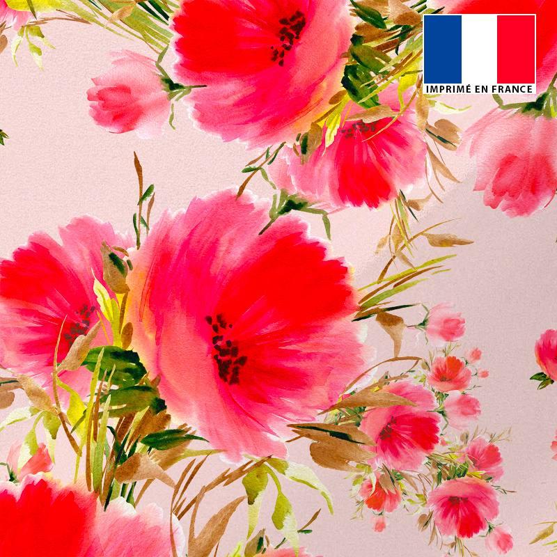 Tissu microfibre rose imprimé coquelicot peint