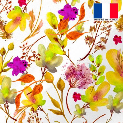Tissu microfibre écru motif aquarelle de fleurs nuances de jaune et marron