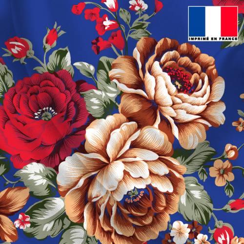 Satin bleu roi motif bouquet de fleurs rouge et beige