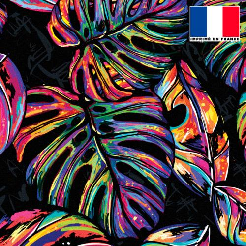 Tissu occultant noir motif jungle pop multicolore