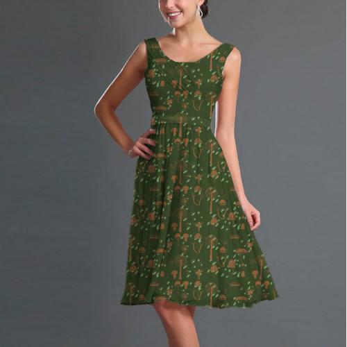 Mousseline vert foncé motif champignon marron