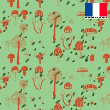 Mousseline verte motif champignon orange