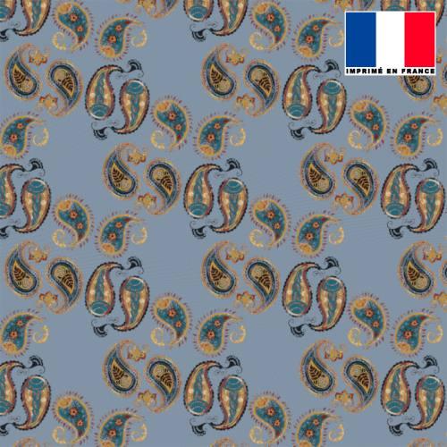 Mousseline crêpe bleue motif cachemire