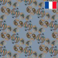Mousseline bleue motif cachemire