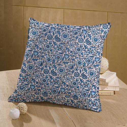 coupon - Coupon 80cm - Coton écru imprimé fleurs et feuilles style cachemire bleu clair