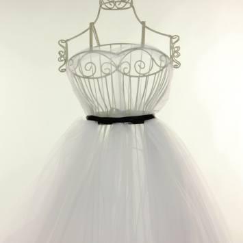 coupon - Coupon 97cm - Tulle blanc pour robe de mariée grande largeur