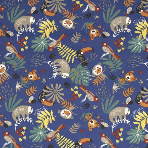 Coton bleu motif animaux de la jungle et feuille tropicale papaya
