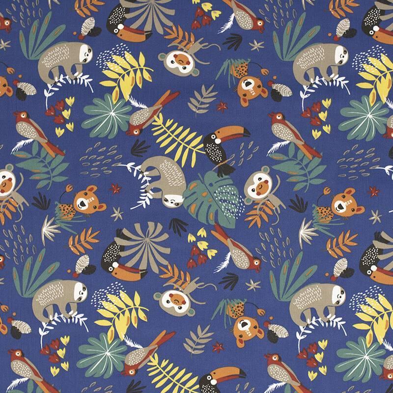 Coton bleu motif animaux de la jungle et feuille tropicale papaya