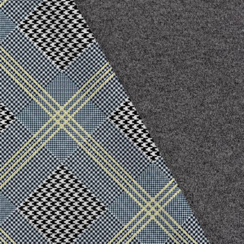 Tissu lainage caban motif prince de Galles noir et blanc réversible