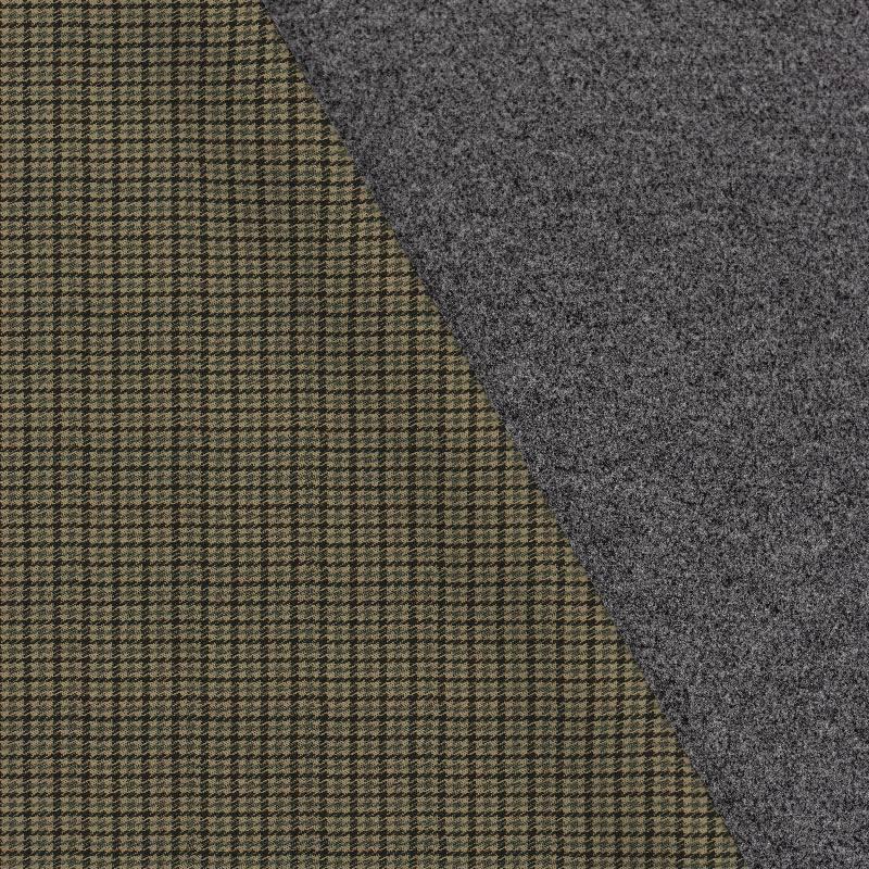 Tissu lainage caban motif pied de poule beige et vert réversible
