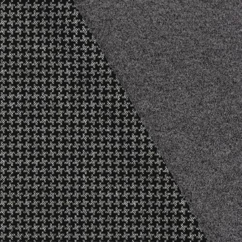 Tissu lainage caban motif grand pied de poule noir et gris réversible gris